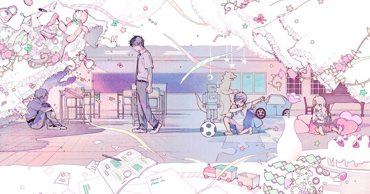una tavola rosa e viola del manga mostra il ragazzo camminare pensieroso in mezzo a giochi infantili - nerdface