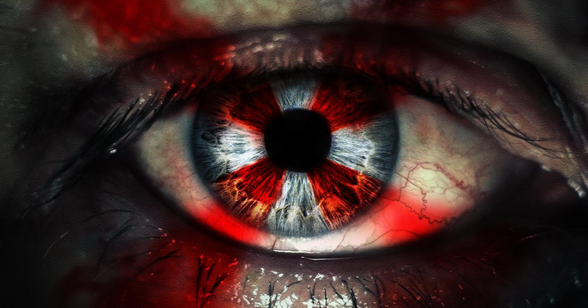 un occhio presenta inciso il simbolo di umbrella corporation - nerdface