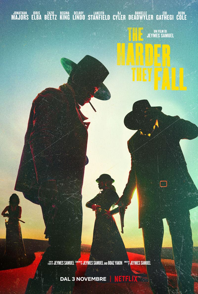 la key art di the harder they fall mostra diversi cowboy col cappellone - nerdface