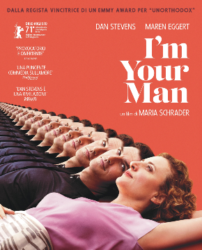 il poster di i'm your man mostra lei stesa e accanto ci sono infiniti cloni dello stesso uomo - nerdface