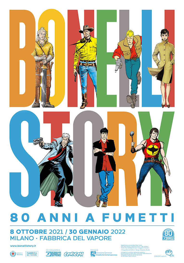 il poster ufficiale della mostra vede i tanti eroi della casa editrice - nerdface