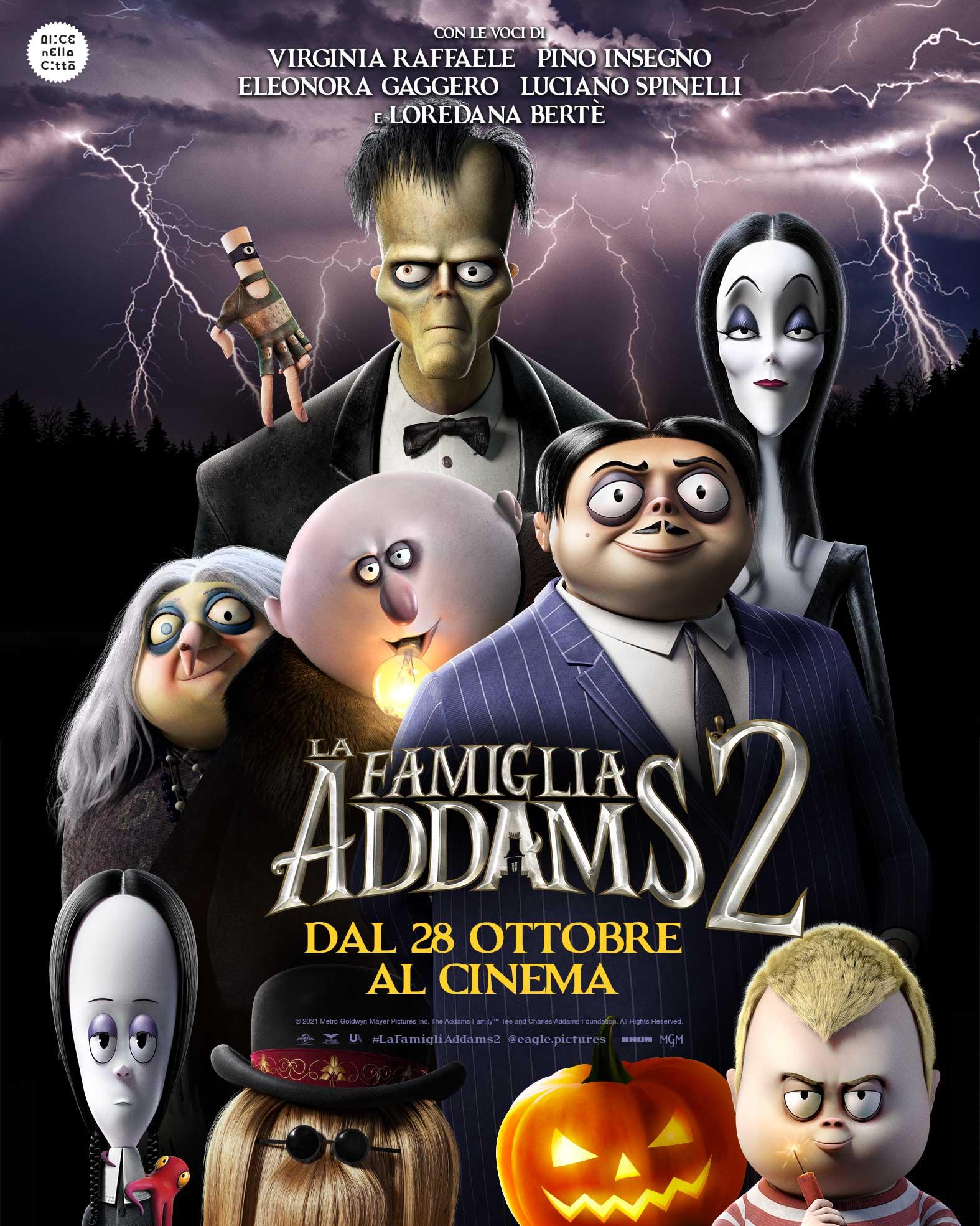 il poster de la famiglia addams 2 vede tutti i membri e una zucca di halloween - nerdface