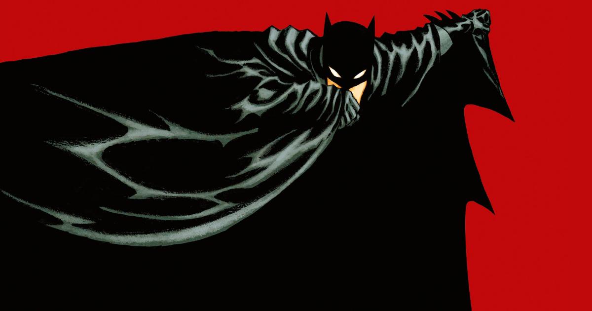 un disegno di batman che si copre col mantello su uno sfondo rosso - nerdface