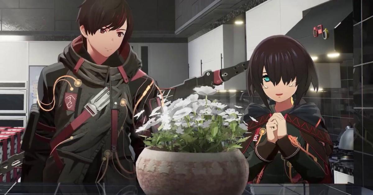 Due personaggi di scarlet nexus davanti a un vaso di fiori - nerdface