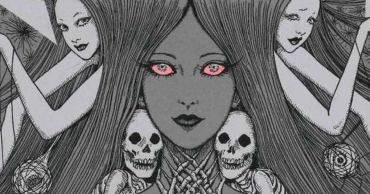 un'immagine della protagonista dai lunghi capelli del manga, circoandata da scheletri e altre donne - nerdface