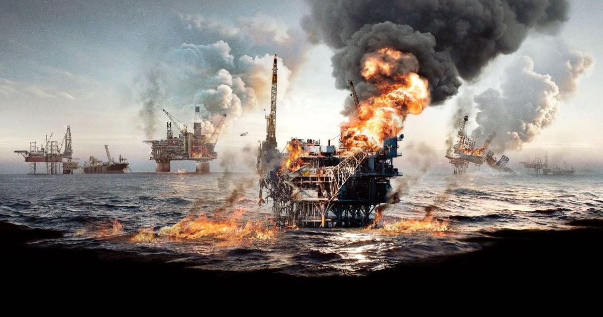Delle piattaforme petrolifere in fiamme - nerdface